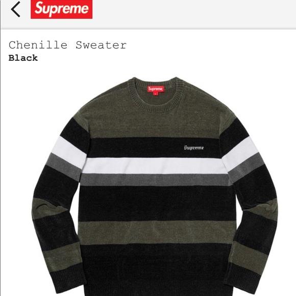 75aa3837 Supreme Sweaters | Chenille Sweater Grey Size Large | Poshmark